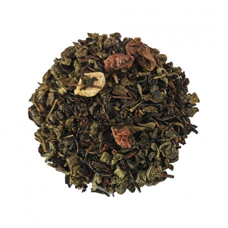 Mélange de thé noir et vert fruité - Pêche, framboise et acérola