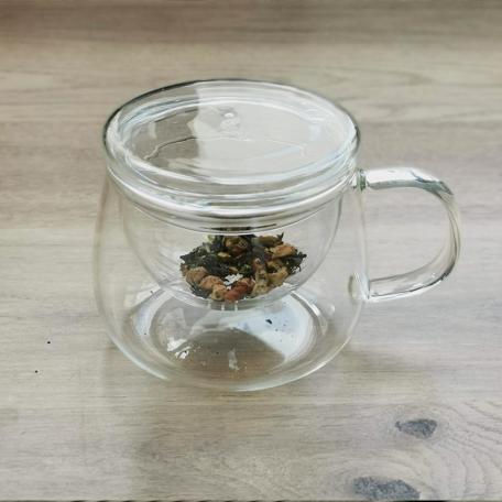 Mug en verre avec filtre et couvercle sous-tasse 350 ml