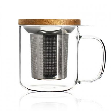 Mug en verre 300 ml avec filtre en inox micro perforé et couvercle en acacia Colors of Tea