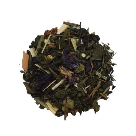 Mélange de thé vert, maté, blanc et noir énergétique - Abricot, spiruline et guarana