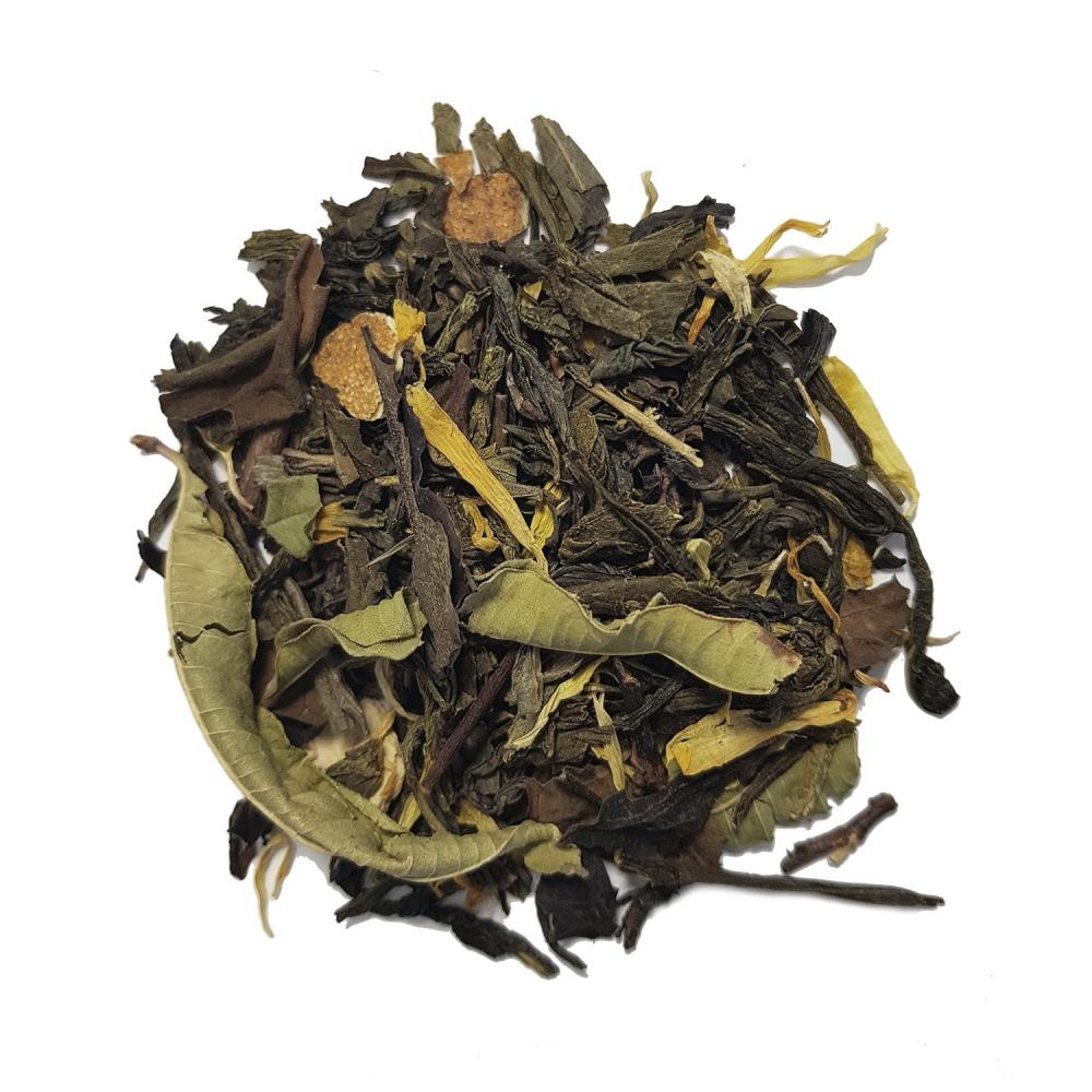 Mélange de thé vert et blanc agrume - Mandarine et verveine