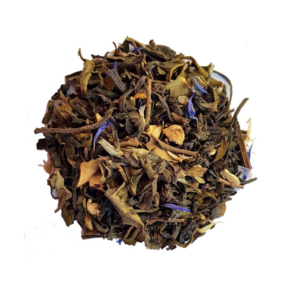 Mélange de thé blanc et vert épicé et fruité - Gingembre, framboise et acérola