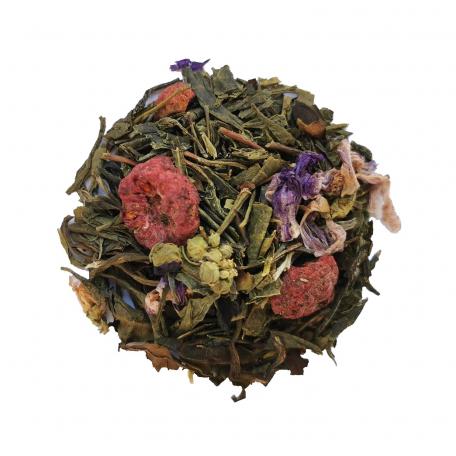 Mélange de thé blanc et vert floral - Violette et framboise