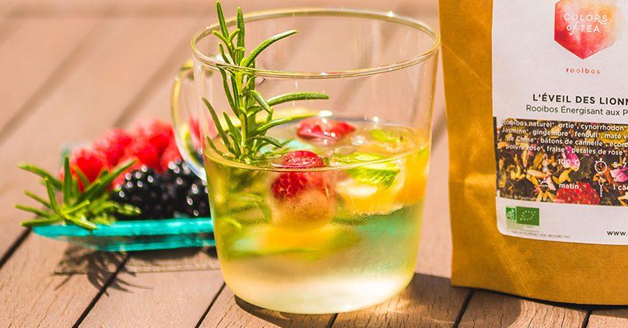 tasse thé glacé avec fruits et herbe, sachet de thé colors of tea