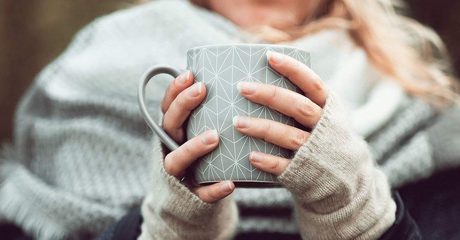 hiver manches longues et écharpe, tasse de thé colors of tea bandeau