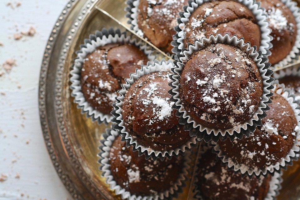 muffins chocolat et sucre glace
