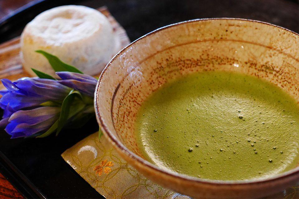 bol de matcha avec fleur et fromage