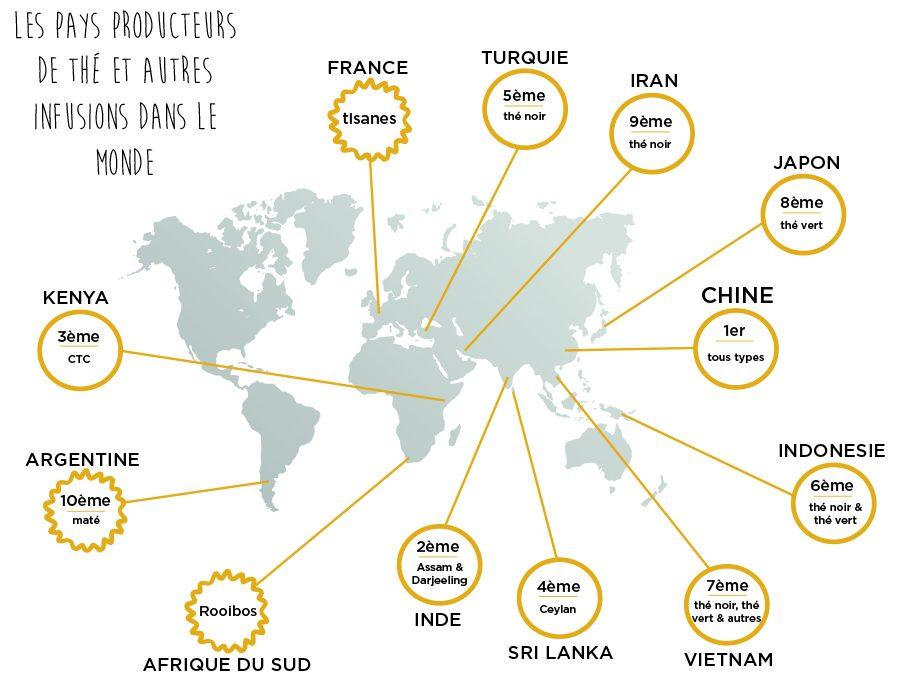 mapmonde pays producteurs de thé colors of tea