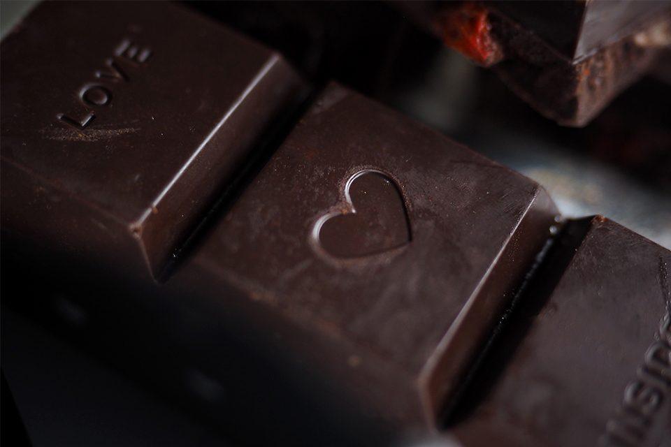 carré chocolat coeur love